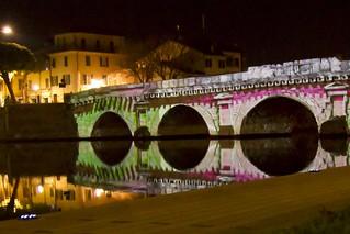 Ponte Tiberio Rimini Videomapping 3D prospectika