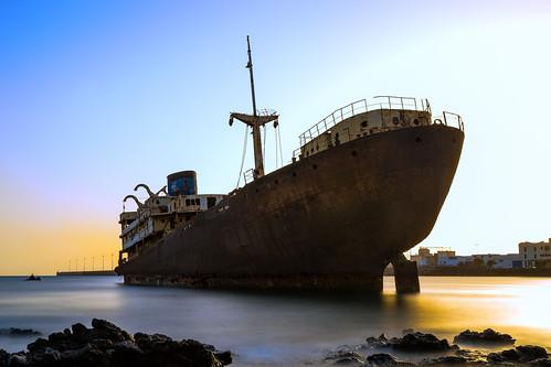 telamon temple hall lanzarote shipwreck canary islands long exposure sunset