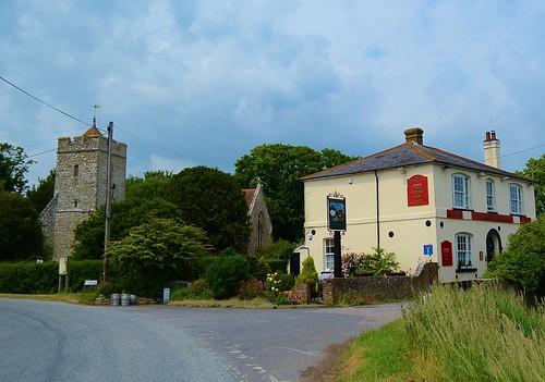 All Saints Church and the Shepherd & Crook Free House, Burmarsh, Kent