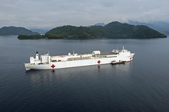 USNS Mercy (T-AH 19) sits at anchorage off the coast of Arawa after arriving June 27. (U.S. Navy/MCC Christopher Tucker)