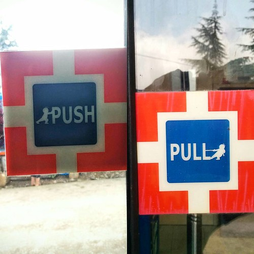 HDFC uses subtle illustrations for their Pull and Push signs. I have so many questions! | by Unlisted Sightings