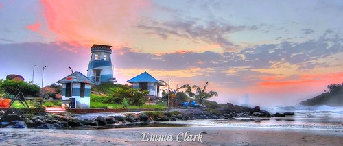 pink trees sunset sea sky panorama orange india colour tree beach clouds landscape landscapes sand nikon waves indian wave kerala panoramic palm hdr colouful kovalam