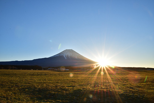 First sunrise on new year's day of 2018 with Mt.Fuji at Asagiri Highland