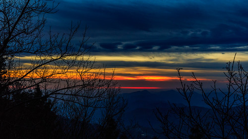 murree pakistan blue hour orange sky cloudscape cloud trees silhouette