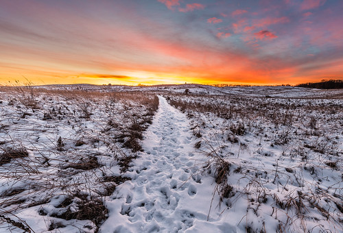 december newrichmond stcroixprairie wisconsin hike hiking prairie snow sunset trail winter