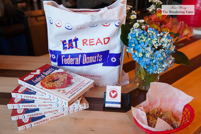 Federal Donuts' book and samples of donuts