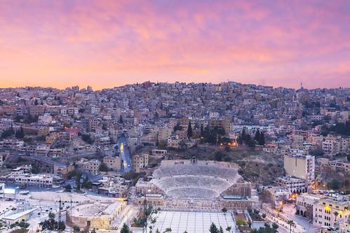 amman jordan sunrise landscape theatre