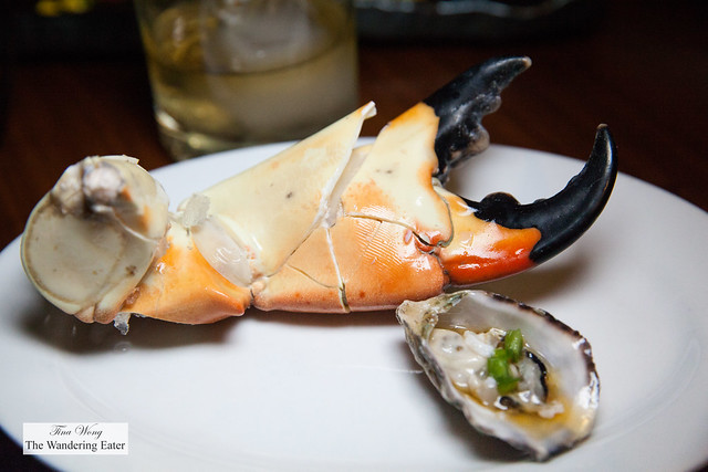 Jumbo stone crab and dressed Kumamoto oyster (for size comparison)