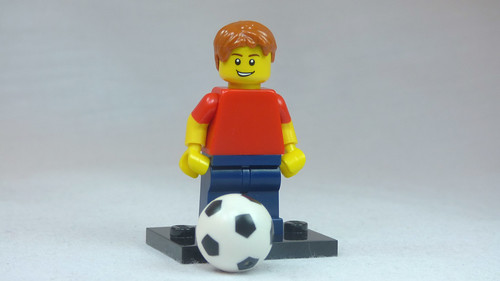 Brick Yourself Custom Lego Figure Kid with red hair red shirt and foorball | by BrickManDan