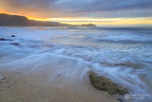 colorfulsunrise colorfulsky beach hawaiibeach sunrise clouds pacificocean sky island surf oahu ocean hawaii pacific waves