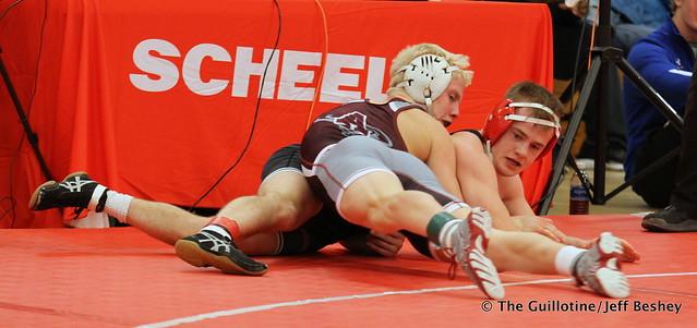 132 Semifinal - Dylan Droegemueller (Anoka) 12-1 won in sudden victory - 1 over Jake Gliva (Simley) 16-2 (SV-1 6-4) - 171216BJF0180
