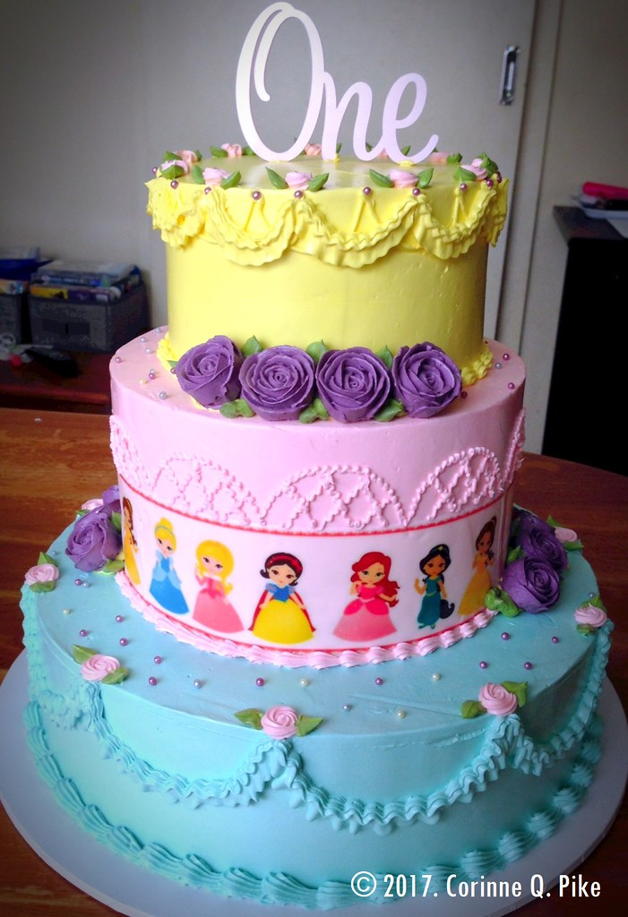 Excellent Baby Disney Princess Themed 1St Birthday Cake Strawberry A Flickr Personalised Birthday Cards Veneteletsinfo