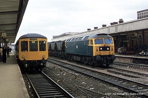 britishrail gloucester class100 dmu dmbs e51115 passenger class47 47370 diesel freight doncaster southyorkshire train railway locomotive railroad