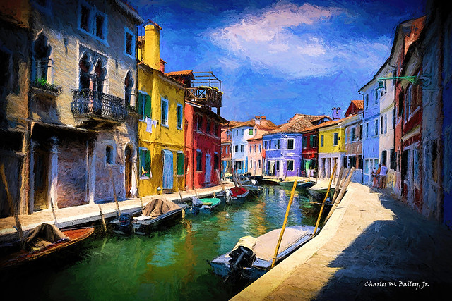 Digital Oil Sticks Painting of a Burano Canal by Charles W. Bailey, Jr.