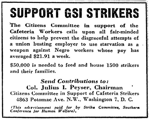 Appeal for aid for cafeteria strikers: 1948 | by Washington Area Spark