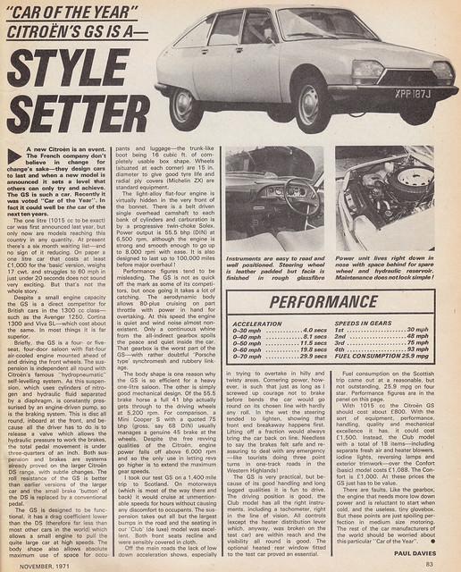 Citroen GS test - 1971