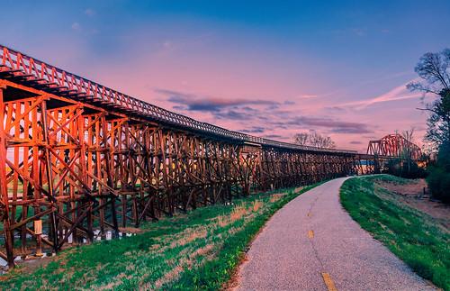 northport tuscaloosa alabama south bridge trestle truss span railroad rail train transportation mo mobile ohio morailroad scenic landscape sunset usa