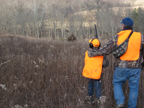 Photo of father and son hunting