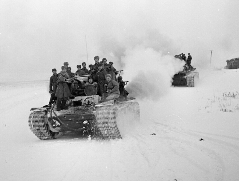 Heavy tanks KV-1's at Stalingrad, the end of December 1942