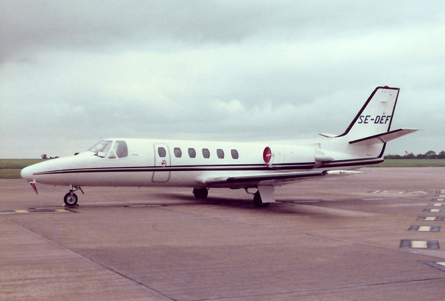 SE-DEF Cessna 550 Citation II cn 550-0422 Kungsair AB East Midlands 21Sep84