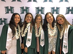 Members of the UH Manoa Rainbow Wahine track and field team, from left, Amber Kozaki, Felicianna Vazquez, Amanda Bowers, Mary Kamau and Kendall Horan