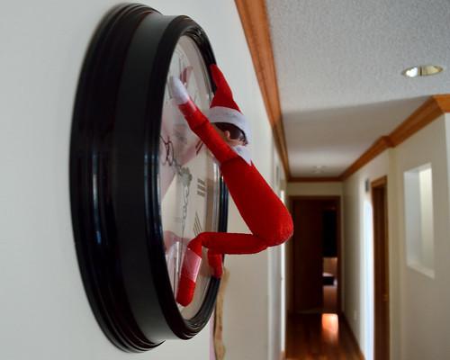 elfontheshelf bauble advent nikon d3200 xmas christmas naughty clock time obstruct climbing