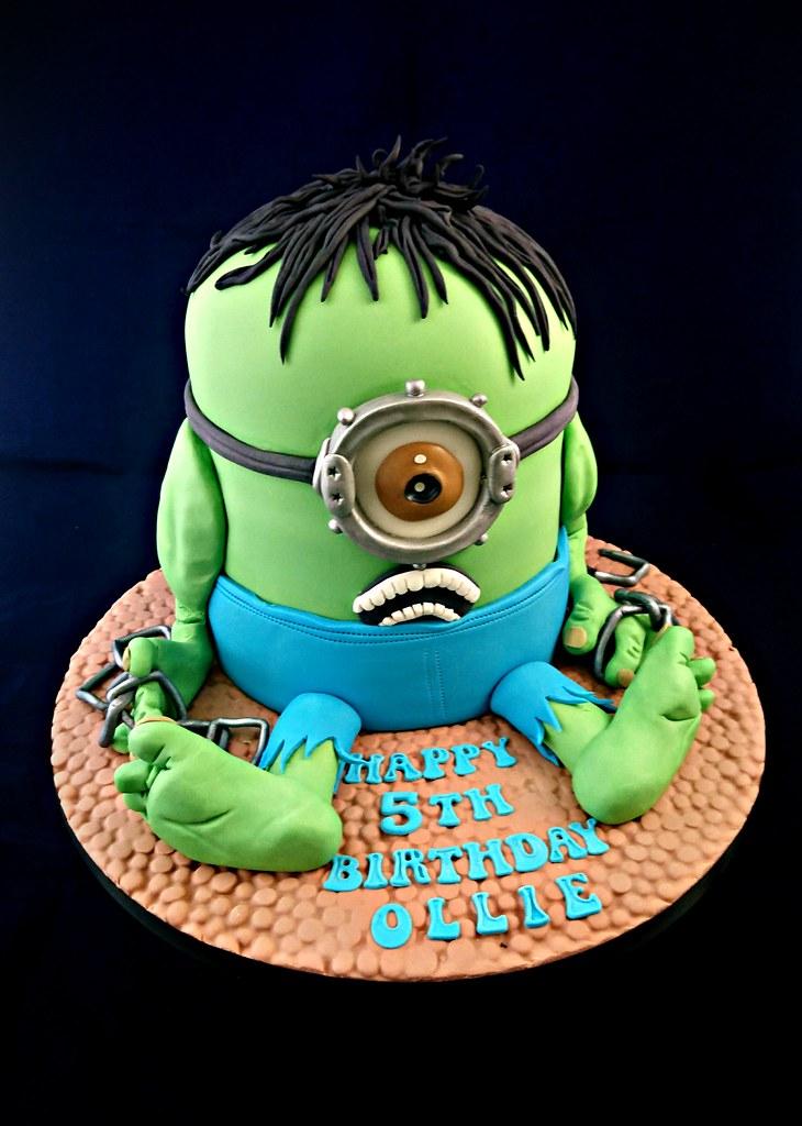 Groovy Minion Hulk Birthday Cake Geraldine Horton Flickr Funny Birthday Cards Online Elaedamsfinfo
