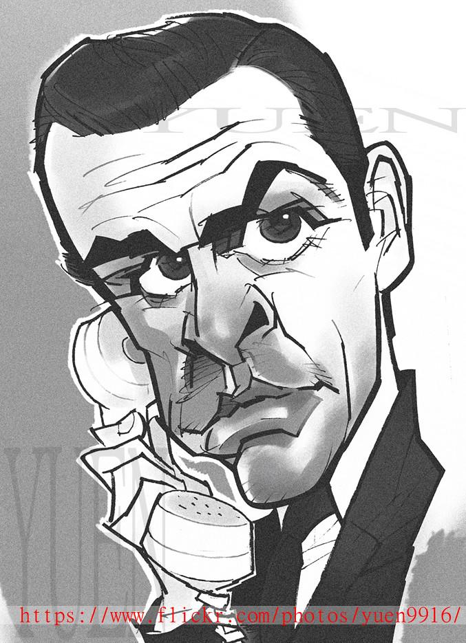 Bond James Bond Comic Portrait Sketch Movie 007 Sean Con