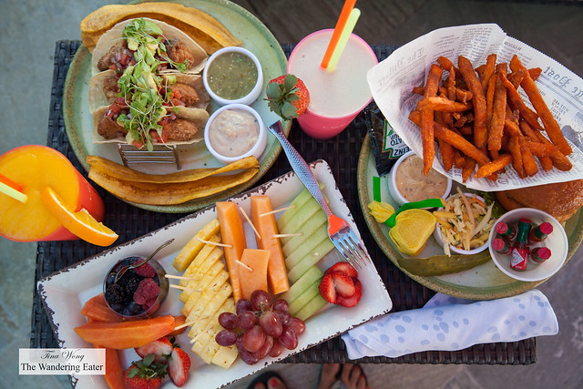 My spread of food ordered from the cabana's menu