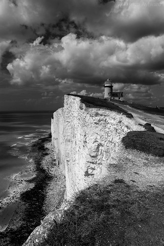 eastbourne england unitedkingdom gb cliff lighthouse clouds bw blackandwhite beautiful stunning contrast rock formation chalk nationaltrust landscape breathtakinglandscapes 100d nature rural seaside landscapephotography naturephotography