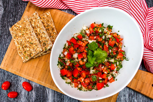 Tomato Bruschetta on a White Bowl with Crackers | by wuestenigel