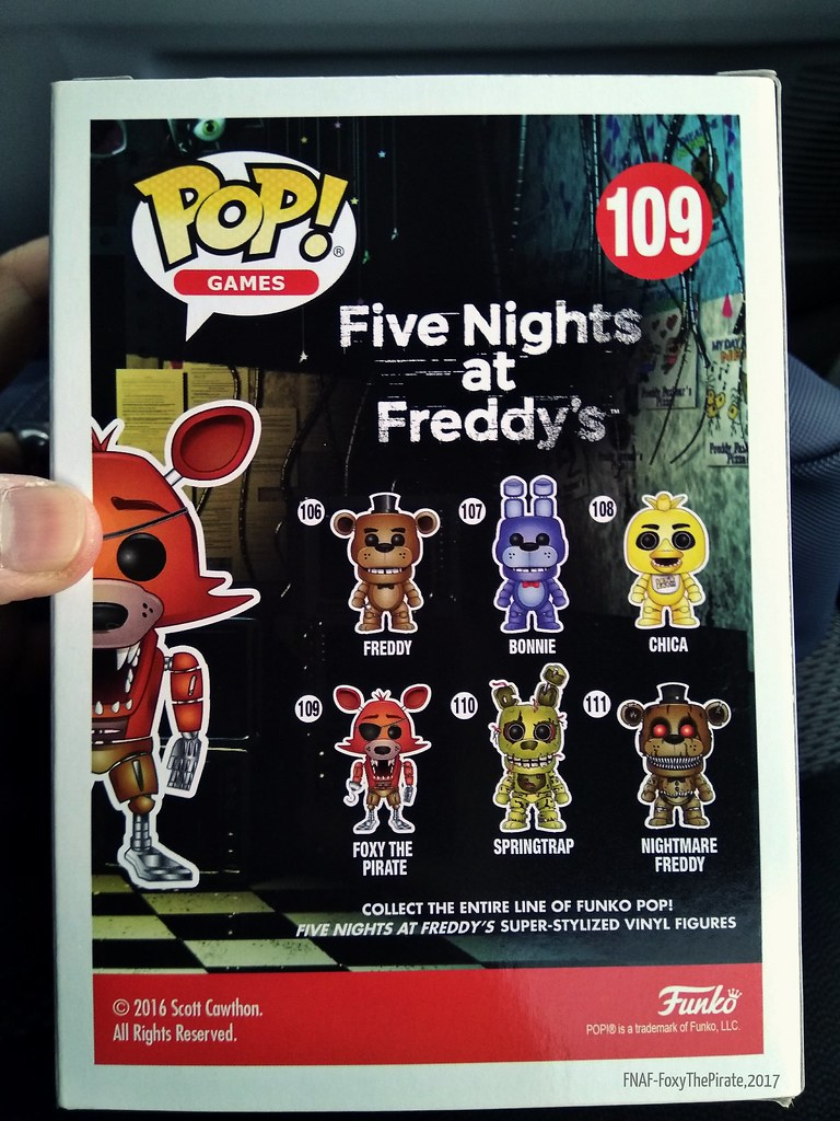 FIVE NIGHTS AT FREDDY/'S  FOXY THE PIRATE VINYL FIGURE # 109 New GAMES POP