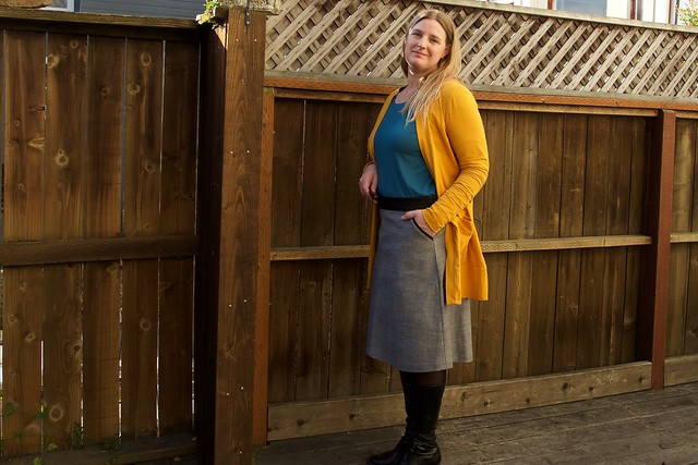 blackwood cardigan and ginger skirt