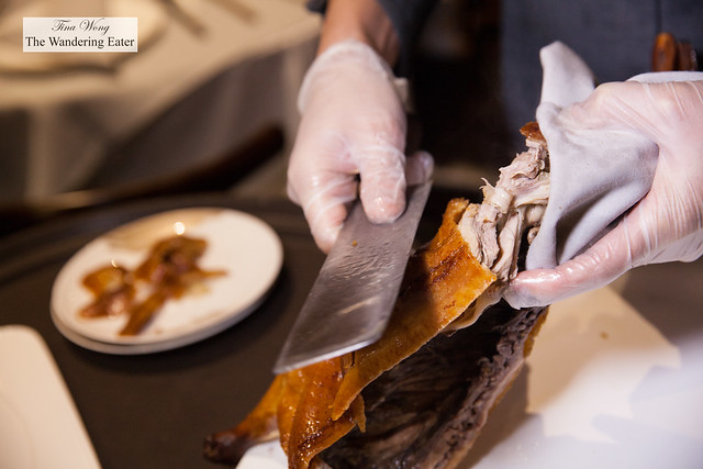Slicing our Peking duck