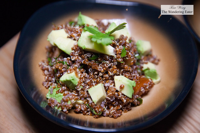 Red quinoa salad with avocado and tomato