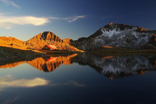 Залез над Каменица и Тевно езеро, Пирин