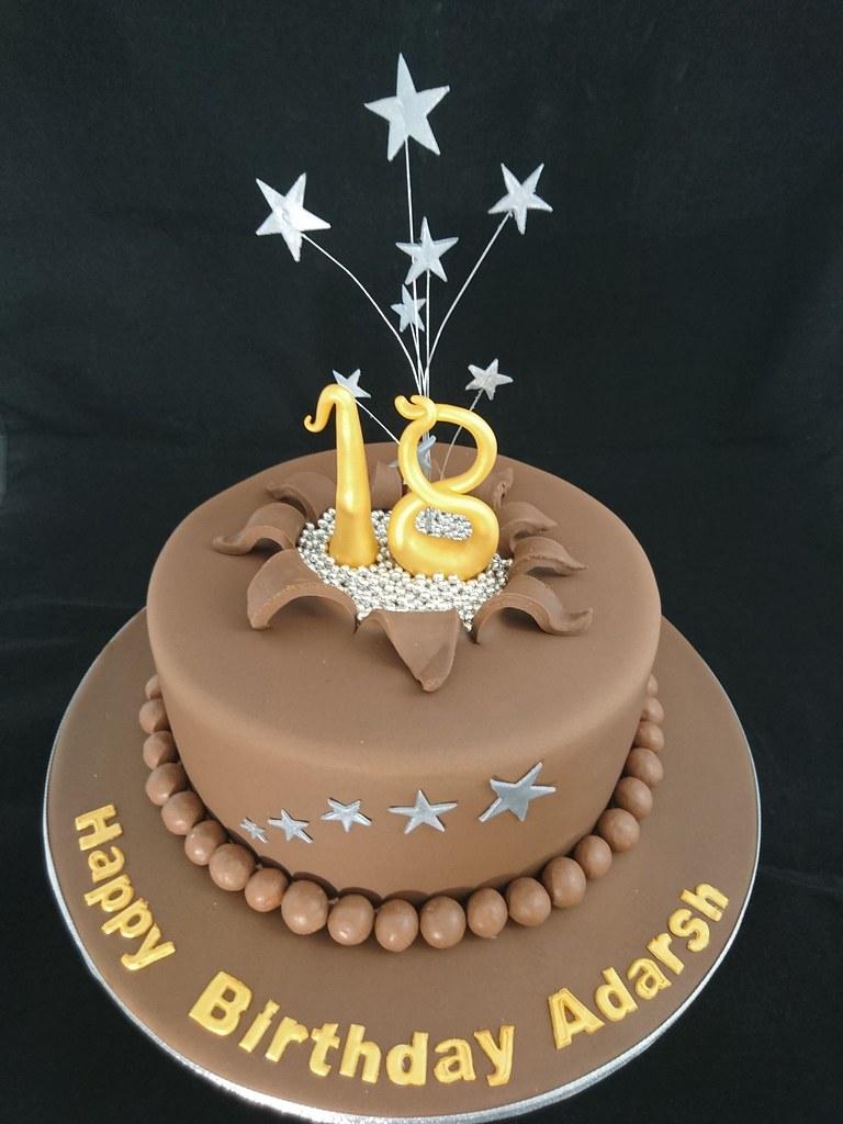 Astonishing Star Burst Chocolate 18Th Birthday Cake Geraldine Horton Flickr Birthday Cards Printable Nowaargucafe Filternl