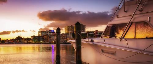 2017 goldenisles hallandale miami smcpentaxda1645mmf40 sunset boat cloud reflection building pier cityscape sky skyline water city