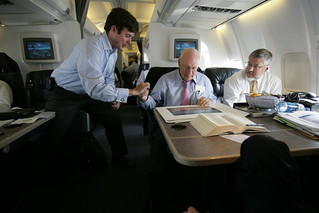 Vice President Cheney Signs Photograph While David Addington Watches Aboard Air Force Two
