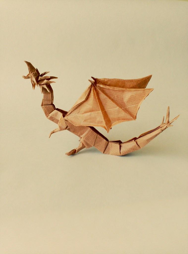 Origami Western Dragon 3.0 by Shuki Kato, my fold. 25 centimeters ...   1024x759