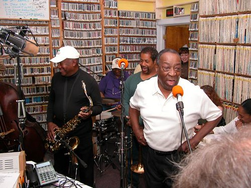 James Rivers, Bob French, Freddie Lonzo, and Dave Bartholomew at 'OZ fund drive, Spring 2004. Photo by Black Mold.