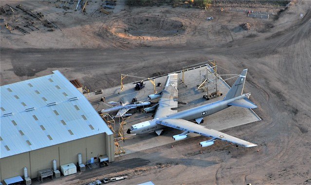Overview of the restoration area at the Pima Air-Museum, Tucson, Arizona. NB-52A Stratofortress 52-0003 and F-105D Thunderchief 61-0086, both ex USAF. 05 June 2016.