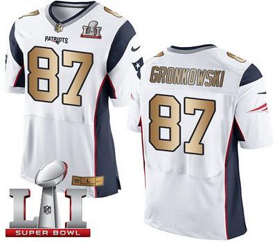 Nike Patriots #87 Rob Gronkowski White Super Bowl LI 51 Men039;s Stitched NFL New Elite Gold Jersey