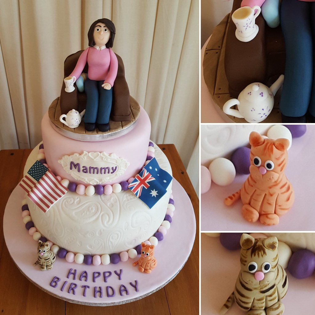 Amazing Birthday Cake For A Special Mammy Loves Her Tea Her Cat Flickr Funny Birthday Cards Online Fluifree Goldxyz
