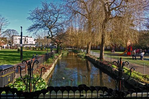 abbeygardens stream water gardens park winchester jainbow