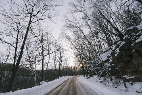 minnesota robinsonpark quarry road sandstone snow sun sunset winter unitedstates us