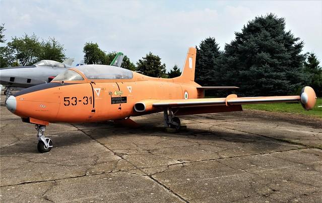 MB-326 MM54274/ 53-31 ex Italian Air Force/ Aeronautica Militare. Preserved, Cameri Air Base, Italy. 27 July 2016.