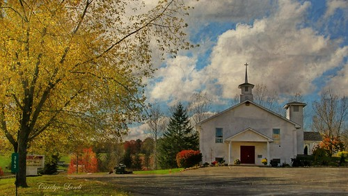 pennsylvania carolynlandi autumn fall scenic architecture landscape structures trees leaves church colorful steeple worship clouds usa albrightsville albrightsvillepa texture texturebybefunky befunky