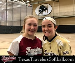 Texas Travelers Gold Teammates Sadie Reid and Marissa Powell attended the Harding University winter softball camp. Sub freezing temps kept the girls off the dirt, but the camp and scrimmage continued thanks to the beautiful indoor facility.