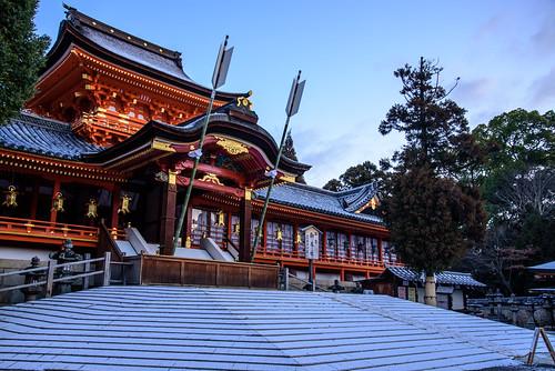 八幡市 京都府 japan kyoto 石清水八幡宮 神社 shrine 雪 snow 日の出 sunrise